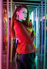 DSC01054 (kolomiichenko.vladyslav) Tags: portrait girl cute neon lines mirrors face style leather jacket sony sonyalpha sonya6000 people cyberpunk