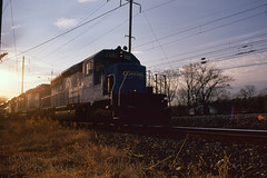 Conrail Backlit With Flare (DJ Witty) Tags: rr photography pentaxk1000 railroad amtrak emd dieselelectriclocomotive conrail sd402 popescreek fujichrome popescreeksecondary