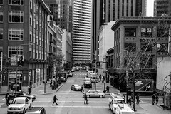A Winter city day in San Francisco (AnotherSaru - Limited mode) Tags: sf sanfrancisco city winter bw blackandwhite streets downtown cars buildings pedestrians walking