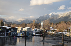 Houseboats, Saint Paul's, and Mountains (ruthlesscrab) Tags: spirittrail northvancouver bc canada sḵwx̱wú7mesh saintpaul church