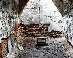 Decaying Cell with stool (fotophotow) Tags: easternstatepenitentiary philadelphia