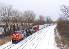CN 324 (Michael Berry Railfan) Tags: cn canadiannational villestpierre lachine montreal montrealsub winter snow ge generalelectric et44ac cn3206 cn3000 cn324
