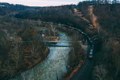 Ten Mile and Pollocks Mill (benpsut) Tags: 9201 djimavic2pro drone flying mga manorbranch mavic mavic2pro ns ns561 ns9201 nsmanorbranch norfolksouthern pollockmills sky aerial aerialphotography coal coalfields creek dronephotography railroad trains