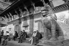 R0020334-1 (nae2409) Tags: people architecture sculpture street blackandwhite durbar square ricoh gr2 patan nepal