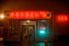 Borden's (oneselfsacrifice) Tags: fog foggy lafayette acadiana night downtown hazy wet reflections