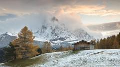 Hut on a Hill (Kevin.Grace) Tags: dolomites dolomiti italy landscape snow winter mountain sunset hut scenic