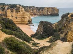 A walk along the cliff tops between Castelo and Rabbit beaches (alanrharris53) Tags: castelo beach rabbit sandstone cliff erosion red orange sea surf waves sun algarve portugal