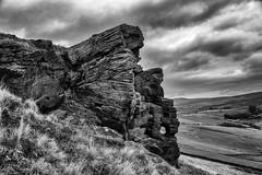 Cown Edge Rocks (l4ts) Tags: landscape derbyshire peakdistrict darkpeak hayfield cownedgerocks gritstone gritstoneedge gritstonetor moorland cloudscape clouds blackwhite monochrome