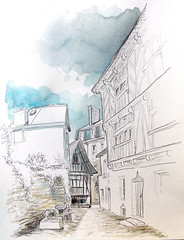 Quimperlé, rue Dom Morice (dominiquerichard) Tags: dessin aquarelle quimperlé bretagne