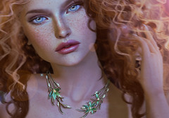 KUNGLERS - Tainara neckpiece- AD (AvaGardner Kungler) Tags: kunglers avagardnerkungler belle secondlife jewelry neckpiece necklace organic fantasy mesh digital virtual model portrait ginger freckles