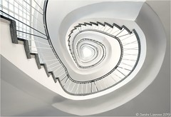 White Beauty (Sandra Lipproß) Tags: architecture staircase circularstairs spiralstaircase lookingup staircasefriday stairs steps frankfurt treppenhausfreitag treppenhaus geometry stairwell