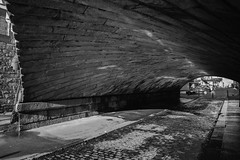 Light at the end of the tunnel: under the arch -Grand Canal Quay (Wendy:) Tags: stone railway bridge canal quay grandcanalquay masonryarch granite riflevaulting