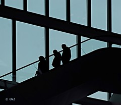 Escalator (Greet N.) Tags: interieur forum groningen escalator building inside silhouettes