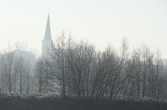 Church of Veilsdorf village (:Linda:) Tags: germany thuringia village veilsdorf church nobw mist