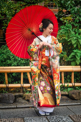Bride to be (Shawn Harquail) Tags: fence japan kyoto portrait shawnharquail summer bride candid fashion fencefriday girl japanesegirl japanesewoman kimono outdoor outside people shawnharquailcom umbrella woman