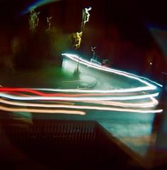 Street at night (larakitten27) Tags: diana lomography dianaf lights lighttrail light night film 800 800iso manual