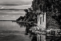 Cayuga ruin (FotoFloridian) Tags: antique architecture aurora blackandwhite cayuga history lake monochrome obsolete old oldfashioned outdoors reflection scenics sony tree a6400 alpha landscape nature water