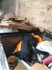 20200117_132523 (prettylost) Tags: discarded little black dress high heel shoes dumpster bin