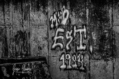"Day 17 ""PAD"" (Jesse Irvin Photography) Tags: graffiti wall blackandwhite grayscale dark spray paint concrete"