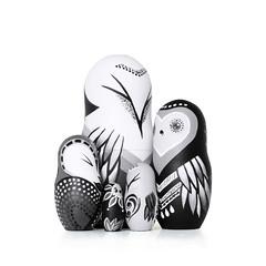 DSC08221_0 (fortmoon) Tags: monochrone shades art woodendolls owls black white wooden fortmoon ecofriendly etsy artdoll customorder painted