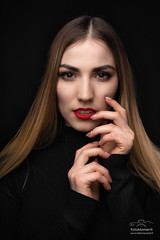Natalia (antoniopedroni photo) Tags: studio portrait flash lights woman girl pretty beautiful model modella hair blonde red lips
