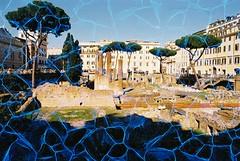 Largo di Torre Argentina (Plexus) (goodfella2459) Tags: nikonf4 revologplexus200 35mm c41 film analog colour roma history largoditorreargentina italy rome buildings trees manilovefilm
