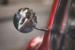 The vintage connection (cazadordesueños) Tags: retrovisor coche reflejo autorretato calle rojo vintage rearviewmirror classic reflection selfie streetphotography red man