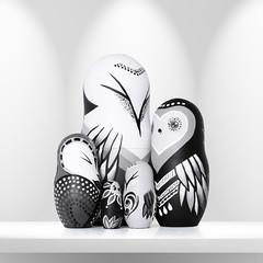 DSC08221 (fortmoon) Tags: monochrone shades art woodendolls owls black white wooden fortmoon ecofriendly etsy artdoll customorder painted