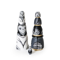 DSC08212 (fortmoon) Tags: monochrone shades art woodendolls owls black white wooden fortmoon ecofriendly etsy artdoll customorder painted