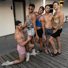 A6400431 v2 (Wheels Down) Tags: friends pose fip fire island pines shorts tanktop shortshorts flipflops birkenstocks sneakers cap shirtless barechest feet legs hotties cute handsome silly anklet tattoo muscle arms biceps shoulders shades sunglasses playful