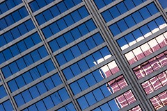 Pink and Blue (Karen_Chappell) Tags: lasvegas travel usa city urban glass reflection reflections nevada abstract building architecture skyscraper windows lines angle tilt geometry geometric rectangle pink blue colour color canonef24105mmf4lisusm