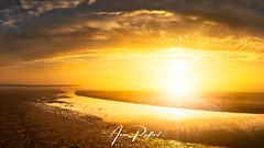 Walberswick Hazy Sunflare (Aron Radford Photography) Tags: blue walberswick southwold suffolk east anglia landscape coast sunrise dawn mist fog haze pier beach sand water sea sunflare reflections