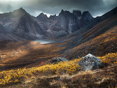 Fall in Grizzly Valley (andrewpmorse) Tags: yukon canada northerncanada fall yukonterritory tombstone tombstoneterritorialpark grizzlylake hiking mountains leaves landscape landscapes canon canon5dmarkiv 5dmarkiv 2470f28lii moody