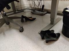 High heels in an empty office building (abandoned.shoes) Tags: abandoned shoes womens high heels pumps