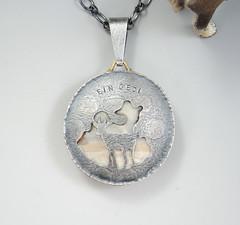 willow creek jasper, custom pendant (betsy.bensen) Tags: willowcreekjasper sterlingsilver 14ktgold fabricated custompendant oxidizedsilver pierced nubianibex