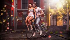 Love in the air (meriluu17) Tags: amitie deaddollz bike love couple cute ride ridding bicycle them people street air windy wind tetra