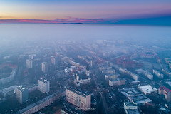 Drowning in the smog (mitelski) Tags: no poland wrocław lowersilesianvoivodeship sky people cloud building bird eye fog outdoors smog high cityscape exterior view angle air aerial drone city mist nature architecture europe structure built wroclaw scenics cityline