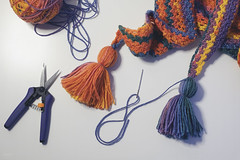finishing touches (CatMacBride) Tags: scaff handmade crochet needle yarn wool colourful
