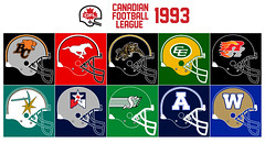 CFL 1993 (BranMan32) Tags: cfl nfl wlaf world league football helmets logo usa america canada bc lions calgary stampeders hamilton tiger cats ti edmonton eskimos ottawa rough riders sacramento gold miners surge san antonio texans saskatchewan roughriders toronto argonauts argos winnipeg blue bombers colts baltimore expansion unused prototype jason garret riley
