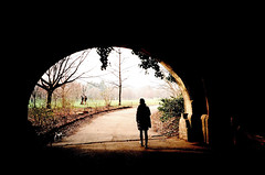 Prospect Park, Brooklyn NYC (Gabriella Ollandini) Tags: arch tunnel silhouette winter contrast people park outdoor 35mm istillshootfilm filmisnotdead streetphotography filmphotography filmcamera woman lady person human solitary brooklyn nyc analogue analog analogica kodak 200 iso walking lomo lca film prospectpark olmsted vaux nature archway