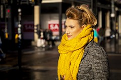 Sunlight is Golden (Leanne Boulton) Tags: urban street candid portrait portraiture streetphotography candidstreetphotography candidportrait streetportrait streetlife woman female girl face eyes expression mood emotion feeling hair blonde yellow golden colourful sunlight bright scarf vape vaping winter cold weather tone texture detail depthoffield bokeh naturallight outdoor light shade shadow city scene human life living humanity society culture lifestyle people style fashion canon canon5dmkiii 70mm ef2470mmf28liiusm colour glasgow scotland uk