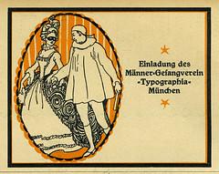 Einladung des Männer-Gesangverein «Typographia» München (Kirsten Solveig Schneider) Tags: männergesangsvereintypographiamünchen 1913 typographischemitteilungen einladung invitation münchen type:face=königantiqua