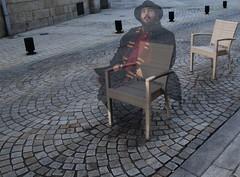 Le spectre du Café de la Halle (Tonton Gilles) Tags: alençon normandie café de la halle au blé place graphisme pavés lignes motifs sièges spectre fantôme ectoplasme transparent transparence mise en scène photomontage autoportrait