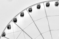 The Great Wheel (RADfotoX) Tags: blackwhite wheel ferris ferriswheel gondola seattle great people travel elliot bay alaskan way geometry spigeometry spicollective washington monochrome negative space lumix