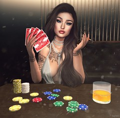 Can you read my poker face? 🃏🃏 (Scarlett Saphira) Tags: sl secondlife second life game casino poker face avatar av bento catwa head magy maitreya body mesh fitmesh sexy dress silver lounge bet stake wager gamble gambler sit onchair beautiful pretty pose model gorgeous beauty focus emotion mood moment fun play playing cards smoke cigarette smoking