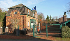 Old factory gatehouse (Schwanzus_Longus) Tags: delmenhorst german germany old classic vintage house building factory gatehouse gate nordwolle historic brick wool carding spinning mill