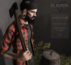 ELEVEN - Lumberjack Axe @ MOM - Jan 20th (Master Glendevon) Tags: sl secondlife second life eleven event lumberjack axel master glendevon axe bento tree stump mom mens only monthly
