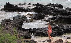 Molokai (thomasgorman1) Tags: beach shore rocks lavarock blackrock woman bikini travel canon island molokai tourism sea water pacific zoom zoomed candid