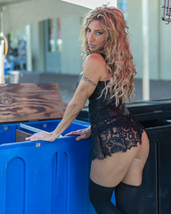 My Fave Bartender 2016 (Ron Scubadiver's Wild Life) Tags: people portrait outdoor galveston texas lone star rally nikon working lace costume 50mm tattoo