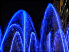 Day 017 Liquid sound (Dominic@Caterham) Tags: liquid sound lights water jets spray building london canarywharf